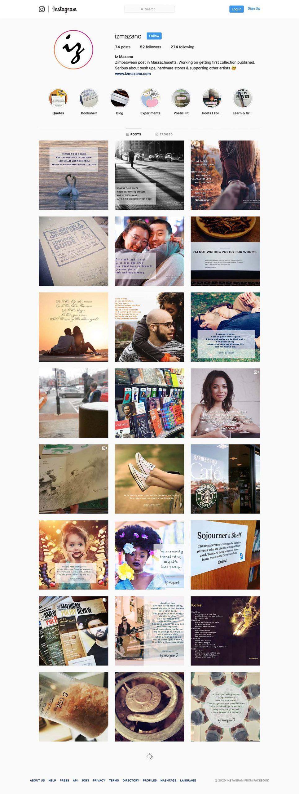 Iz Mazano Instagram screenshot - Feb 11, 2020