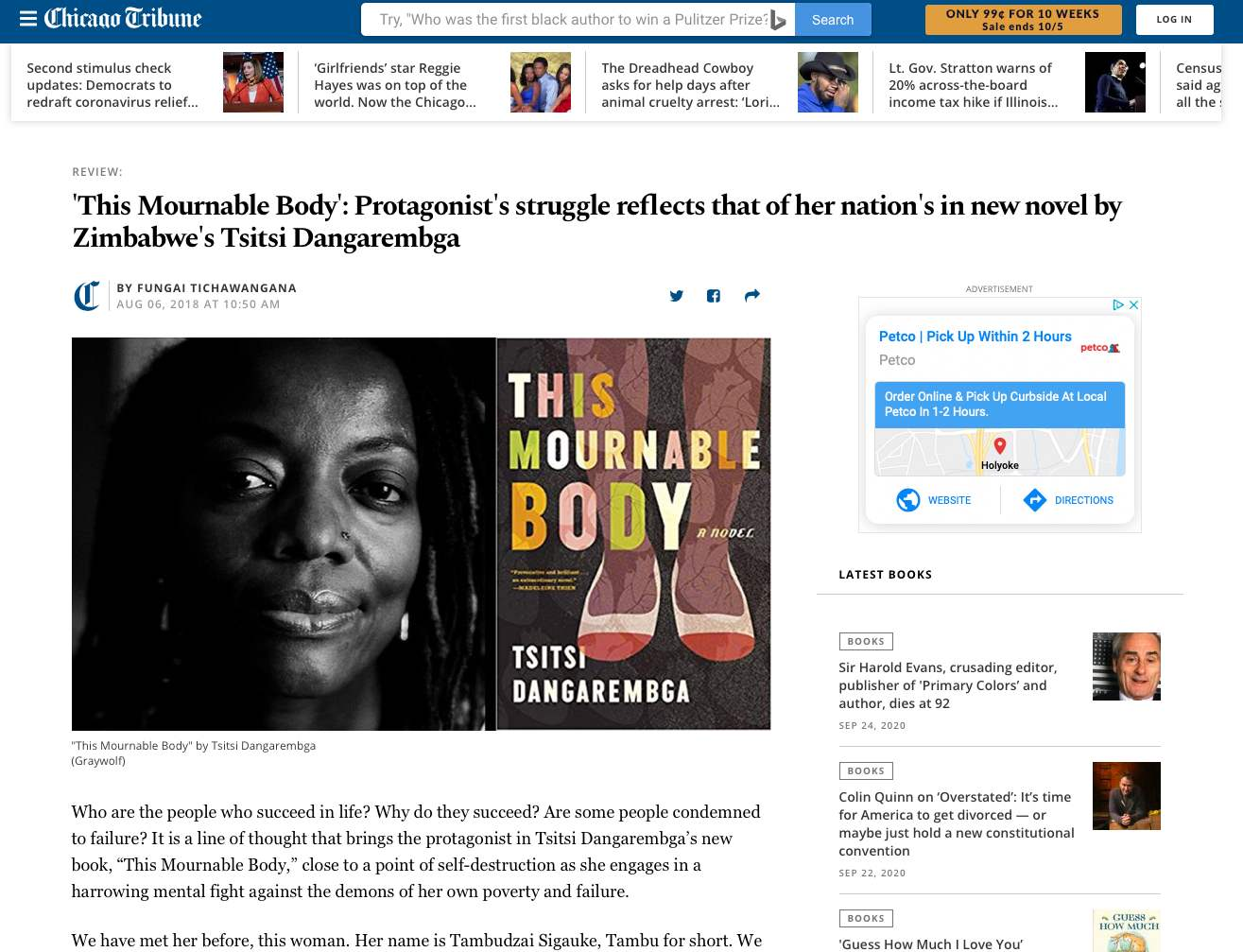 Book review of This Mournable Body on The Chicago Tribune website